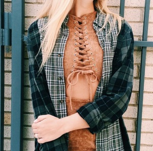 (LF) This suede high neck lace up dress with stomach cut out and multi patterned flannel combo is a 10/10